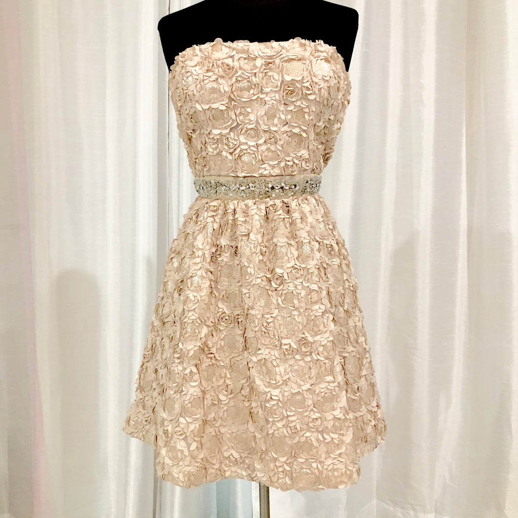 BOUTIQUE Short Cream Strapless Gown Size 11