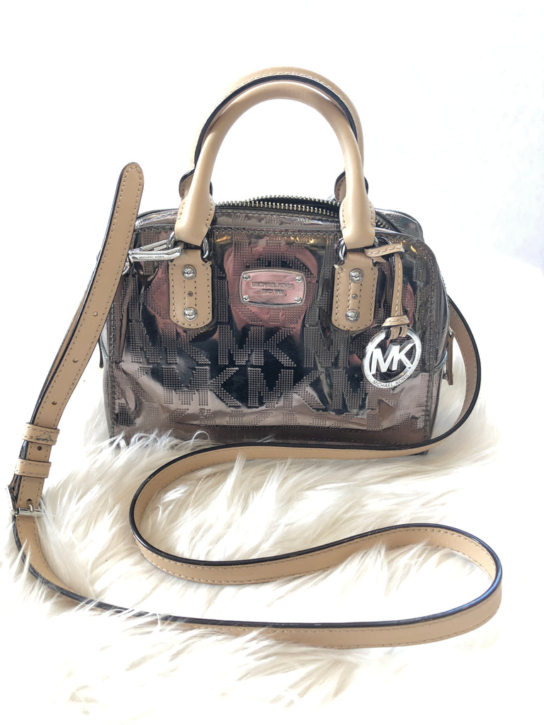 MICHAEL KORS Monogram Mirror Metallic Mini Satchel