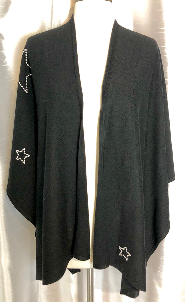 SUNDRY Embroidered Stars Poncho
