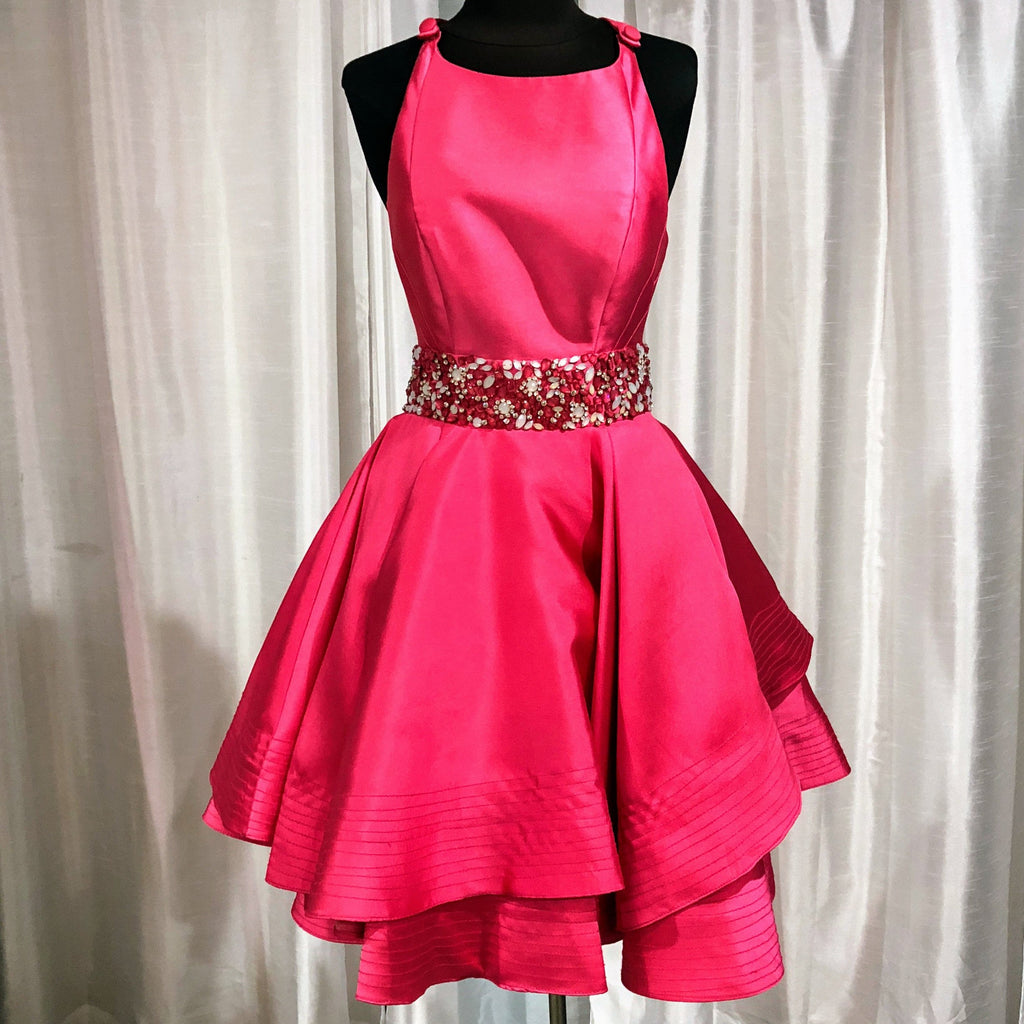 MAC DUGGAL SHORT PINK LIPSTICK DRESS SIZE 4