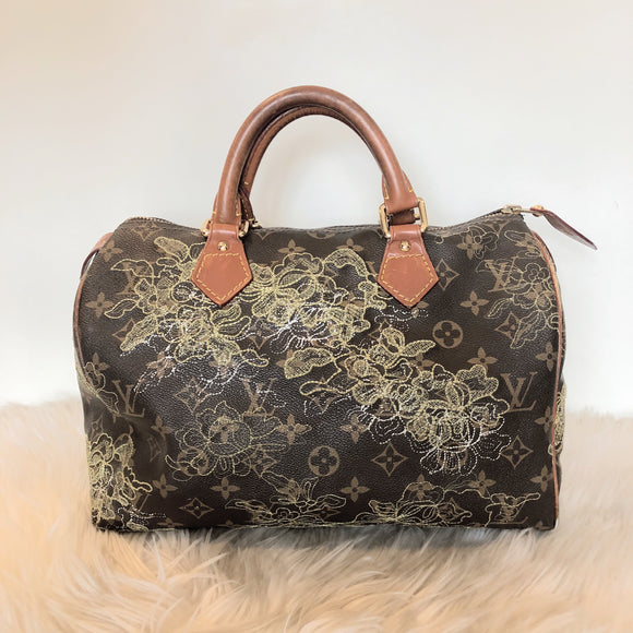 LOUIS VUITTON SPEEDY DENTELLE 30 SILVER EMBROIDERY MONOGRAM