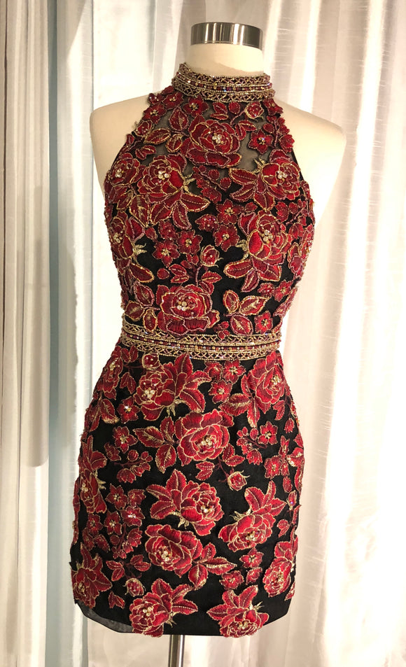 JOVANI SHORT FLORAL BODY CON SIZE 2