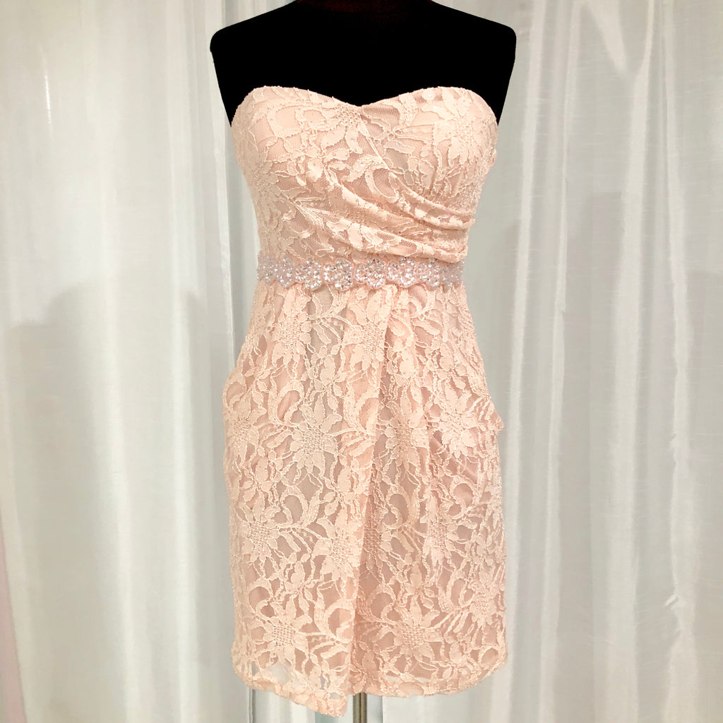 BOUTIQUE Short Blush Lace Form Fitting Gown Size 4