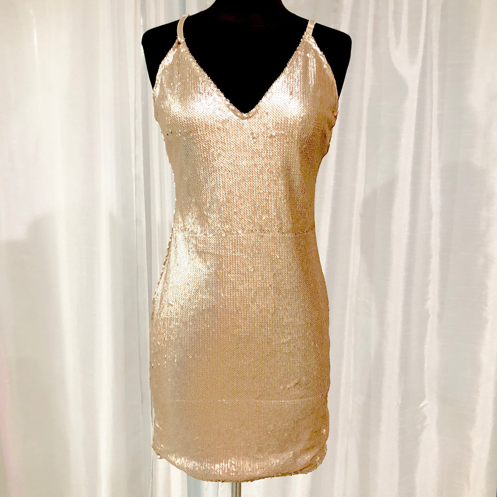 BOUTIQUE Short Gold Sequin Form Fitting Gown Size L NWT