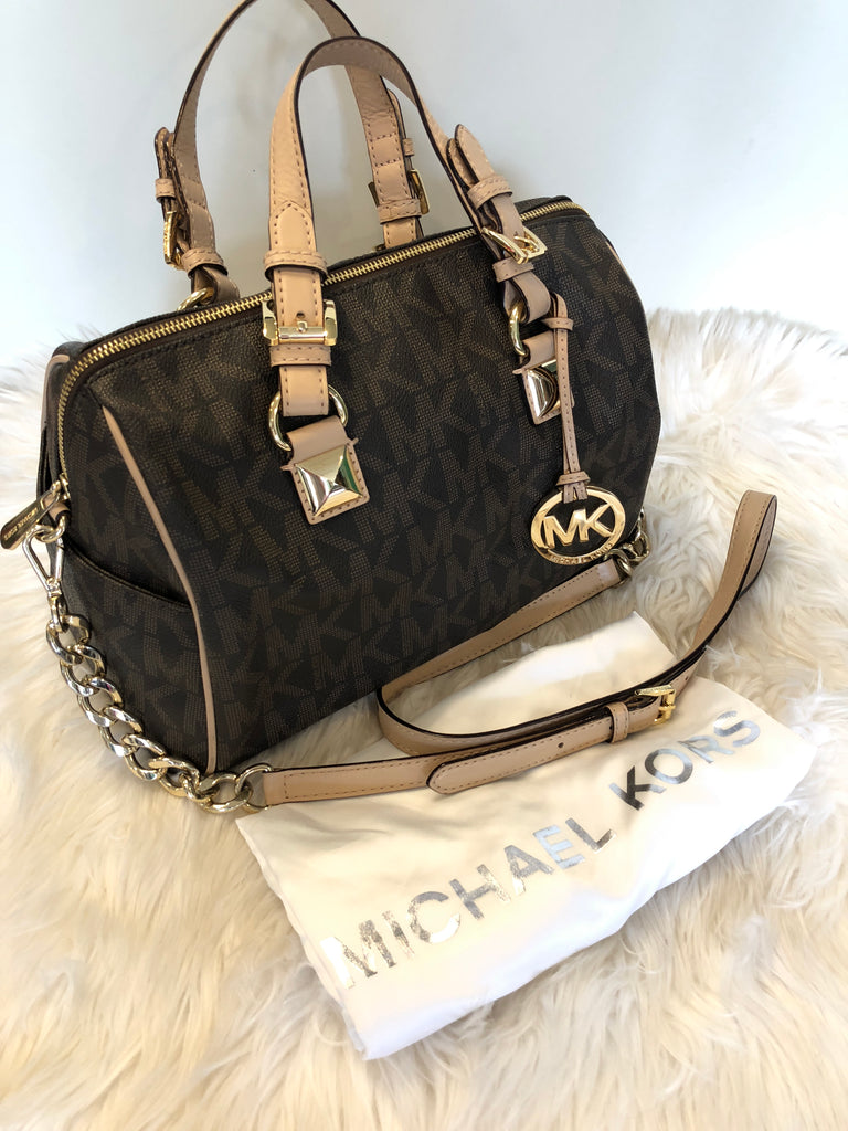 MICHAEL KORS Grayson Logo-Chain Medium Satchel