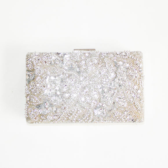 NORDSTROM GLITZ Silver Beaded Convertible Clutch