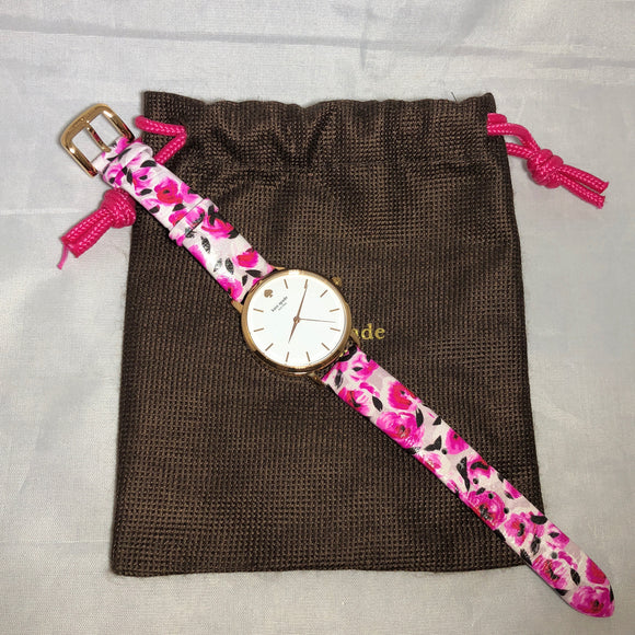 KATE SPADE Rose Print Metro Watch
