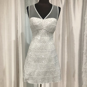 BOUTIQUE SILVER  SHORT SPARKLE GOWN SIZE L