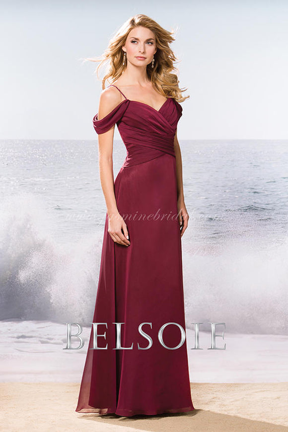 BELSOIE Long Cranberry Chiffon Gown Size 10