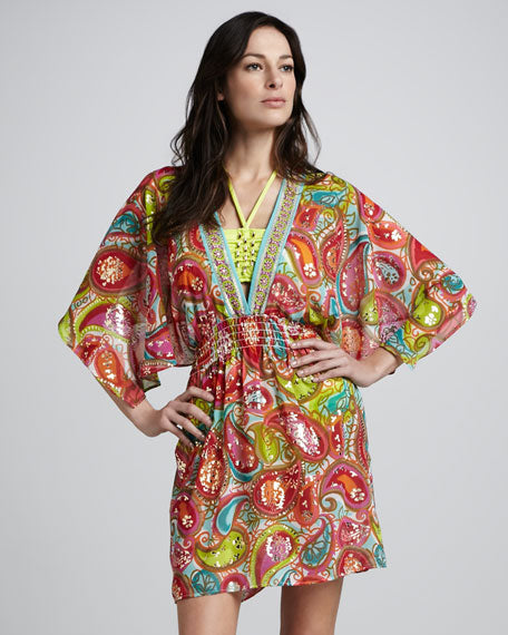 TRINA TURK Izu Paisley Printed Sequined Cover-Up Size XS