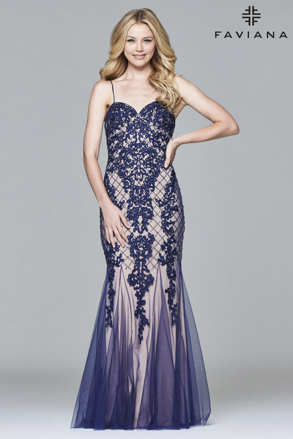 FAVIANA Long Navy & Nude Gown Size 14