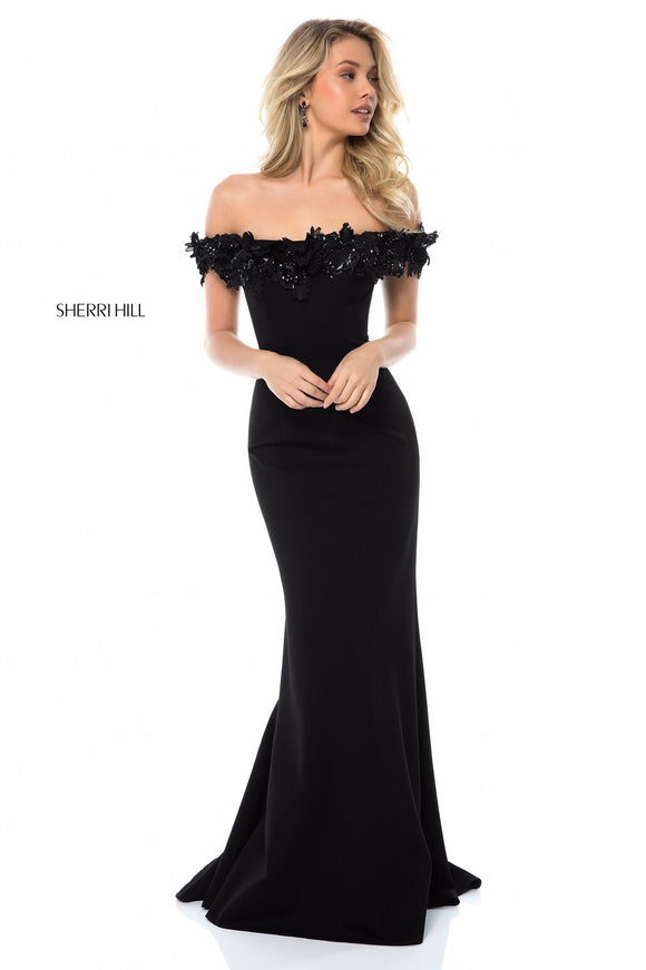 SHERRI HILL Long Black Off The Shoulder Gown Size 10