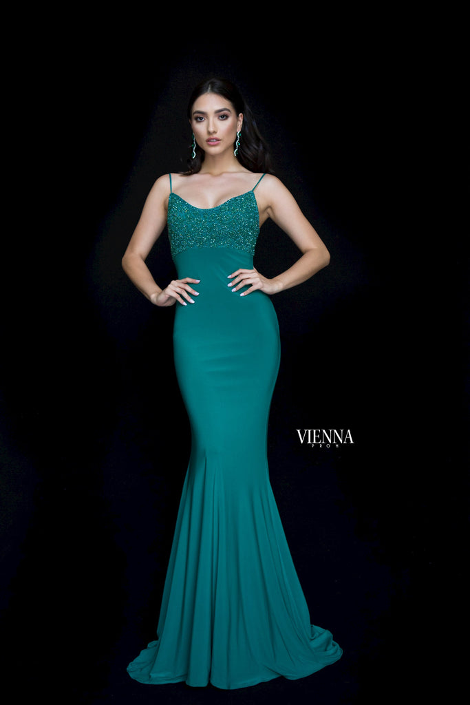 VIENNA Long Emerald Beaded Top Dress