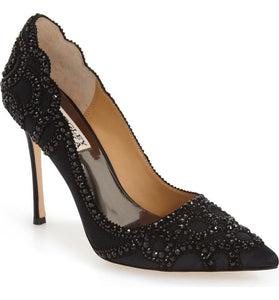 "BADGLEY MISHCKA Size 7 Black ""Rouge"" Pointy Toe Pump"