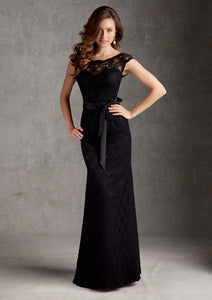 MORI LEE Long Black Lace Gown Size 14