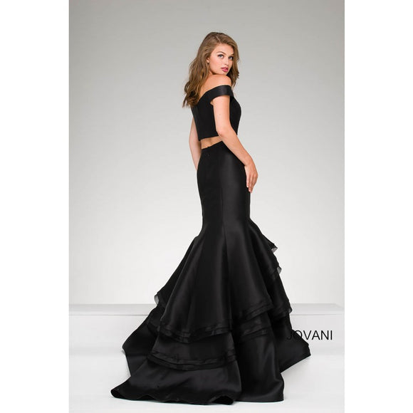 JOVANI two piece black mermaid long gown size 2