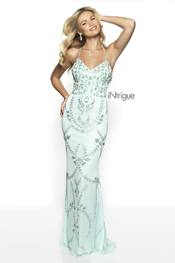 INTRIGUE By Blush Long Tiffany Blue Embellished Gown Size 4