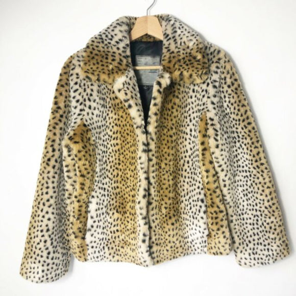 Cole B. Originals Faux Fur Leopard Jacket Coat Size L Ski Aspen Parka
