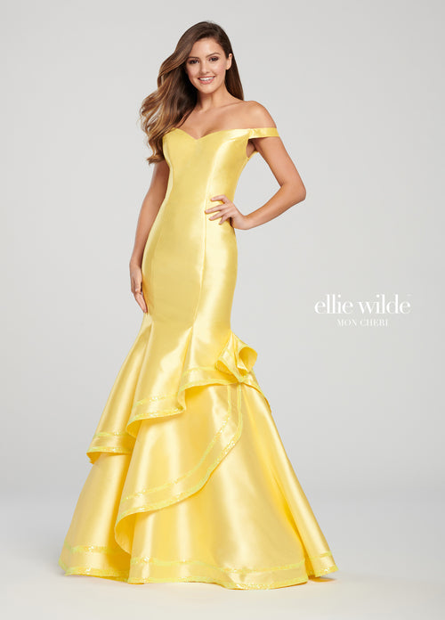 ELLIE WILDE Yellow Long Mermaid Gown Size 8