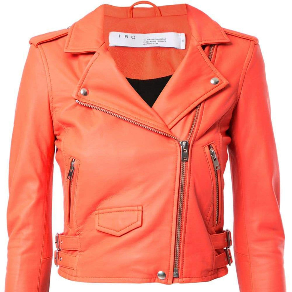 IRO Coral Leather Motorcycle Jacket Size 36 (4)