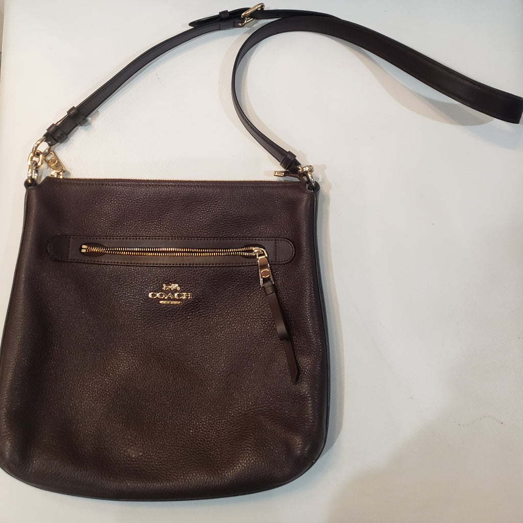COACH Mae Pebble Leather Brown Crossbody Bag