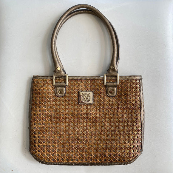 ANNE KLEIN Wicker and Gold Handbag