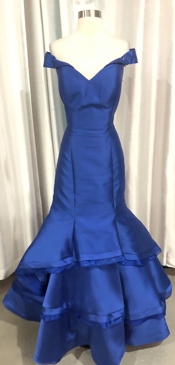JOVANI Long Navy Off The Shoulder Mermaid Gown Size 12