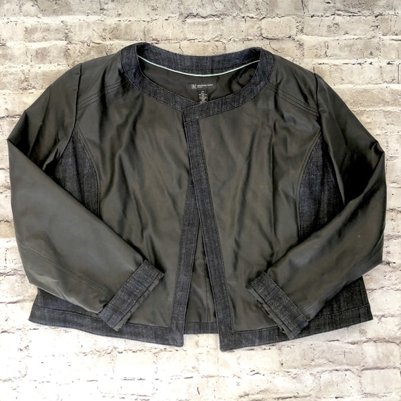 INC Black Faux Leather & Denim Jacket Size 2X