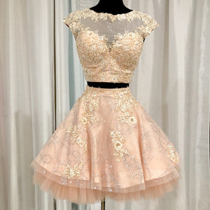 JOVANI Short Blush Cap Sleeve Two Piece Gown Size 4