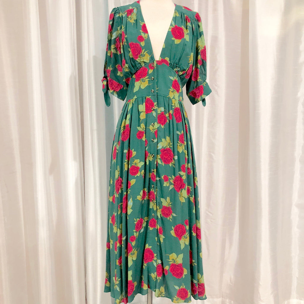 FREE PEOPLE Green & Floral Print Tea Length Dress Size XS NWT