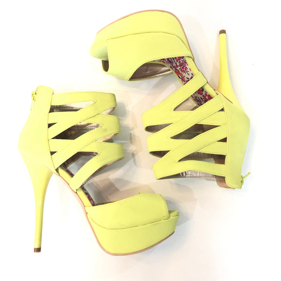 BOUTIQUE Bright Yellow Strappy Heels Size 8