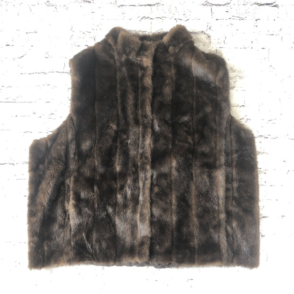 DONNA SALYERS FABULOUS FURS Brown Sable Faux Fur Vest Size 3X