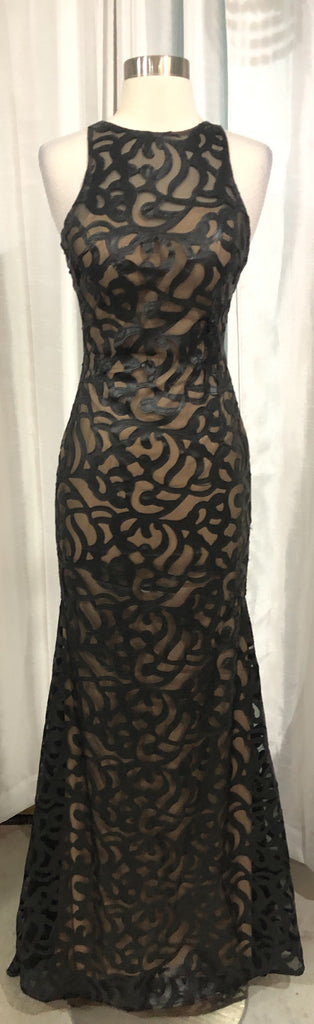 ZOEY GREY Long Black & Nude Gown Size 2