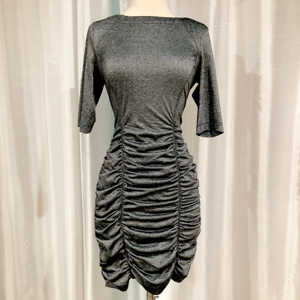 BCBG Short Dark Silver Form Fitting Gown Size M NWT