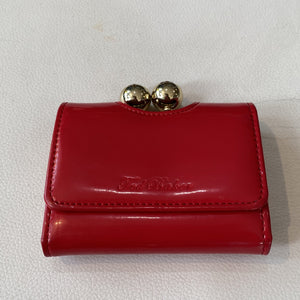 TED BAKER Red Patent Leather Small Wallet
