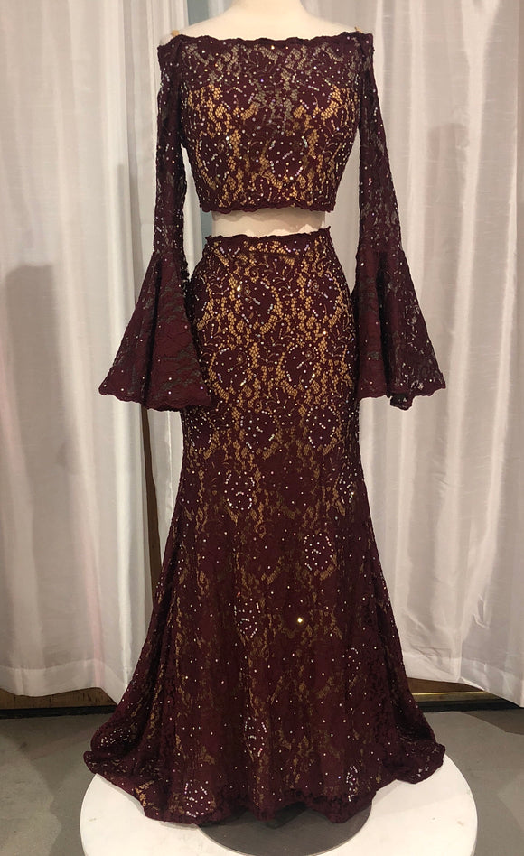JOVANI Long Two-Piece Burgundy Size 2