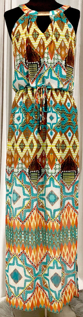 BOUTIQUE Multi-Color Tribal Print Maxi Dress Size M NWT