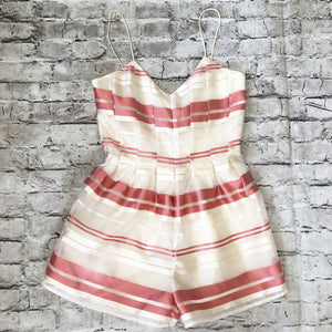 J.O.A LOS ANGELES Coral And Cream Striped Romper Size S NWT