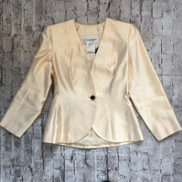 VINTAGE IVORY YVES SAINT LAURENT (YSL) FITTED BLAZER SIZE 6