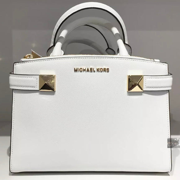 MICHAEL KORS Karla Small Satchel Saffiano Leather Stud Purse White