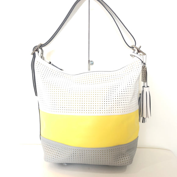 COACH Legacy Perforated Large Stripe Duffle NWT