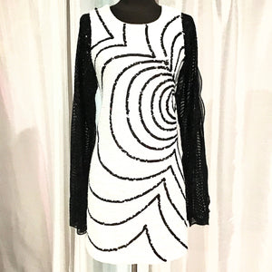 RACHEL ZOE  SHORT PEGGY DRESS WITH LONG SLEEVE SEQUIN Size 4