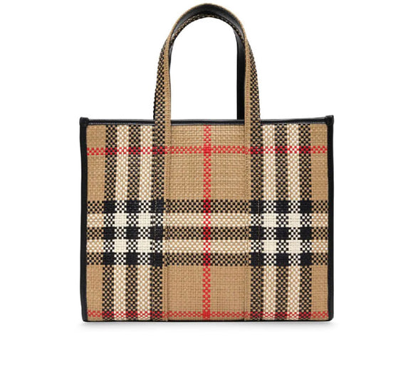 BURBERRY Small Check-Print Latticed Tote Tag in Neutral