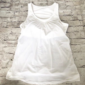 ATHLETA White Tank With Built In Sports Bra Size L