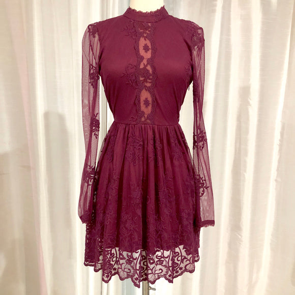 BOUTIQUE Short Maroon Long Sleeve Dress Size S