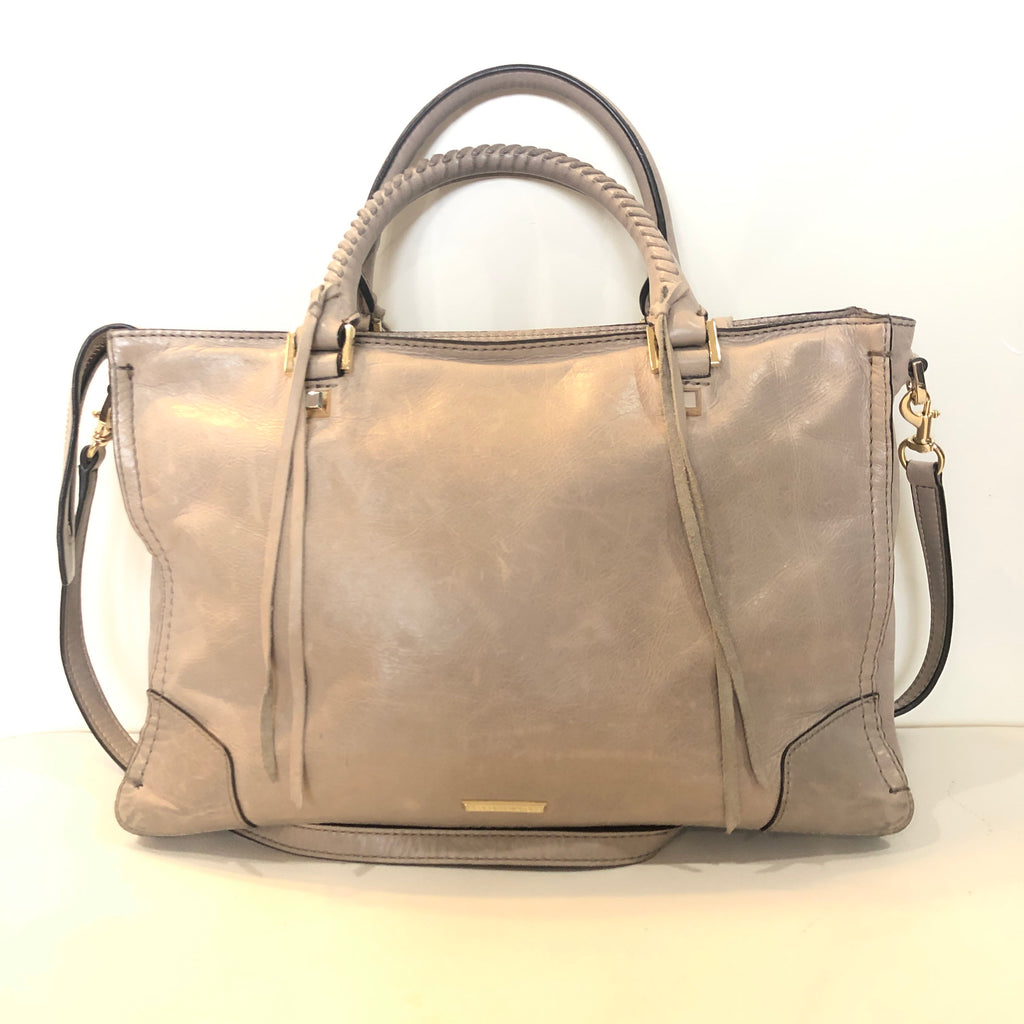 REBECCA MINKOFF Beige Micro Regan Leather Satchel