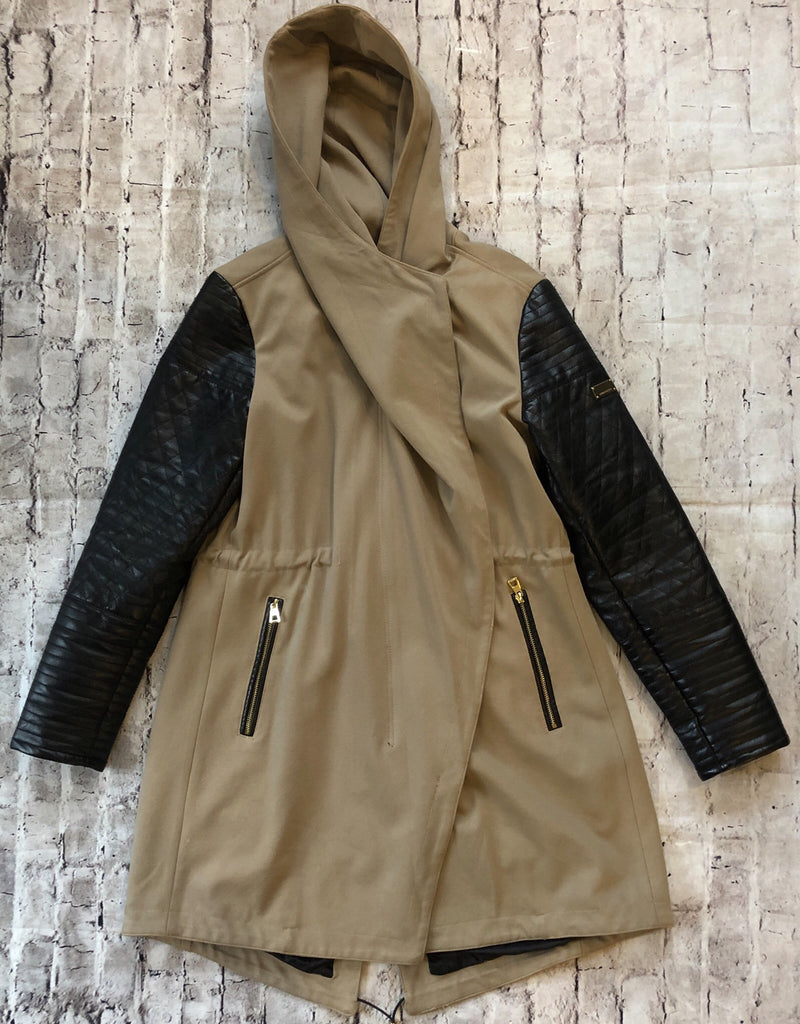 Vince Camuto Faux Leather Sleeve Asymmetrical Anorak Jacket Size L