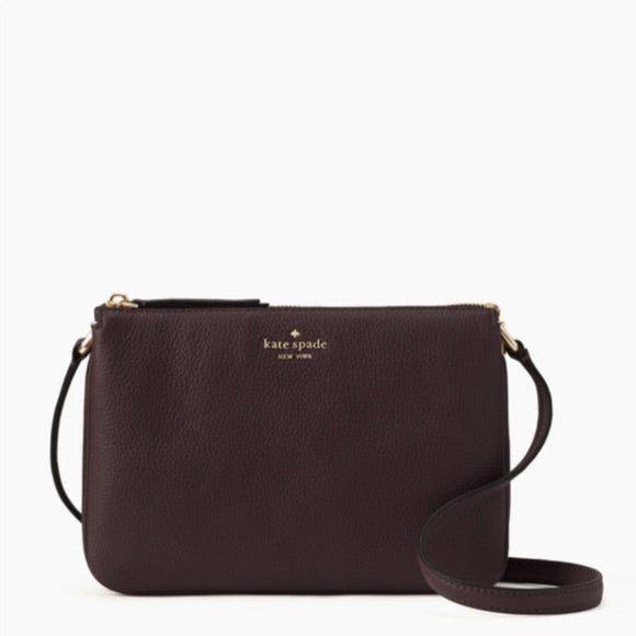 KATE SPADE Pebbled Leather Chocolate Cherry Crossbody