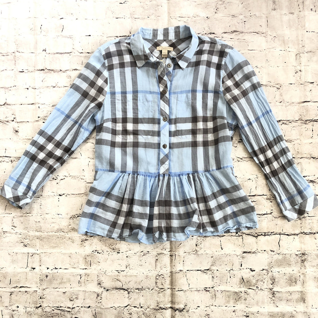 BURBERRY Blue Nova Check Print Blouse Size M