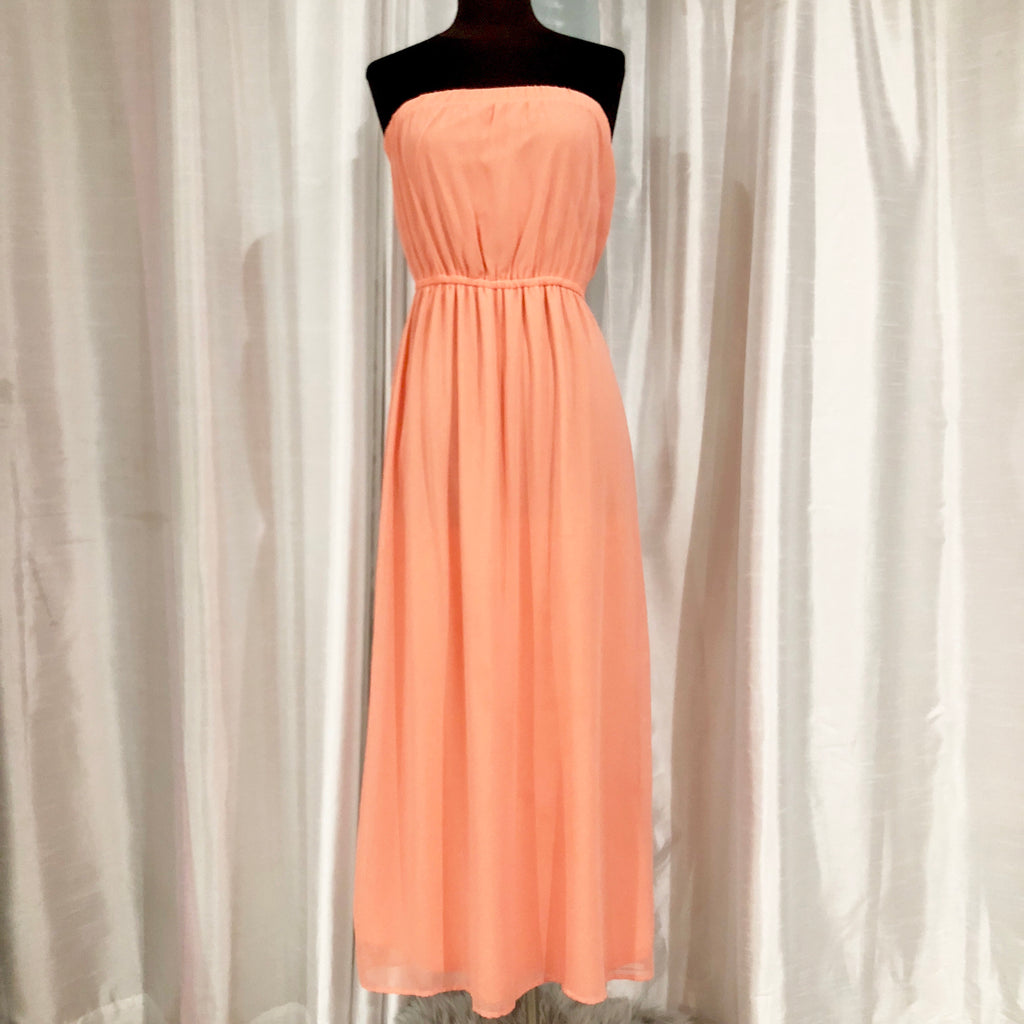 BOUTIQUE Long Peach Strapless Maxi Dress Size S